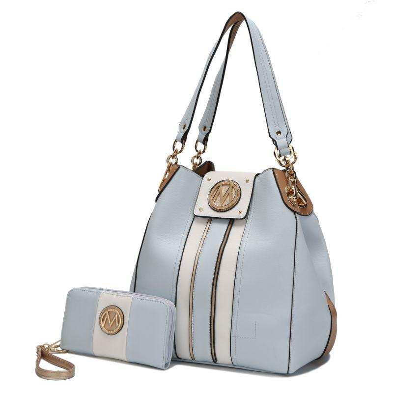 MKF Collection Mirtha Hobo Bag with Wallet-Light Blue-