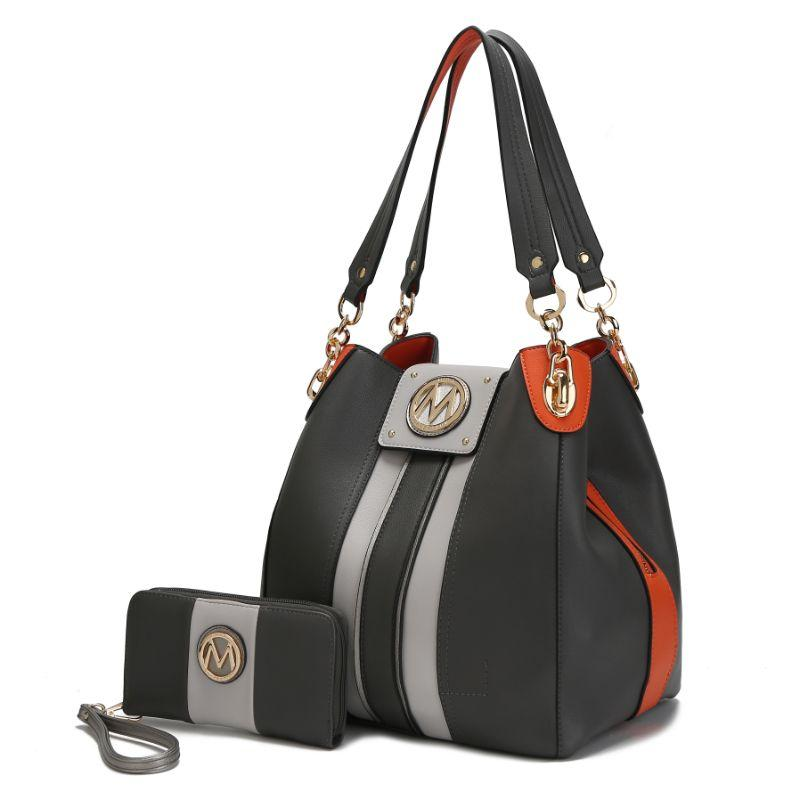 MKF Collection Mirtha Hobo Bag with Wallet-Charcoal-