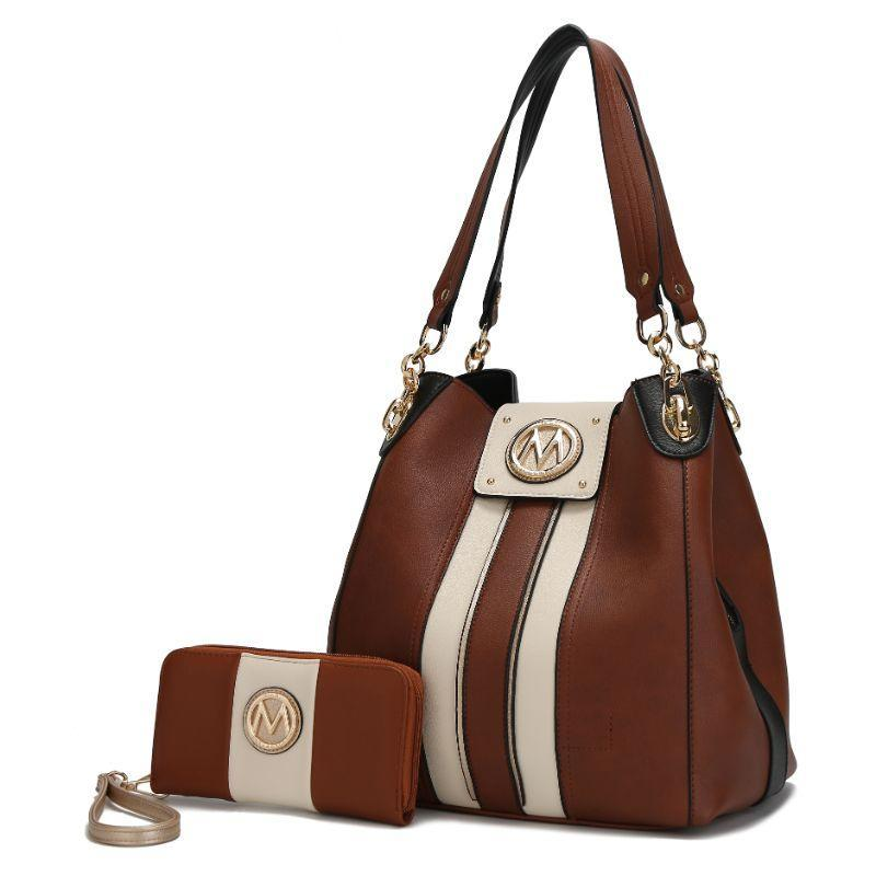 MKF Collection Mirtha Hobo Bag with Wallet-Cognac-