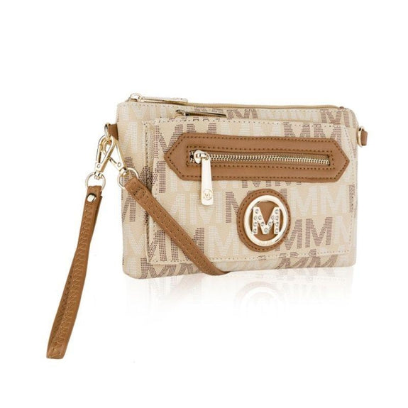 MKF Collection Normani 2 in 1 Wristlet Crossbody by Mia K. Farrow-Beige-Daily Steals