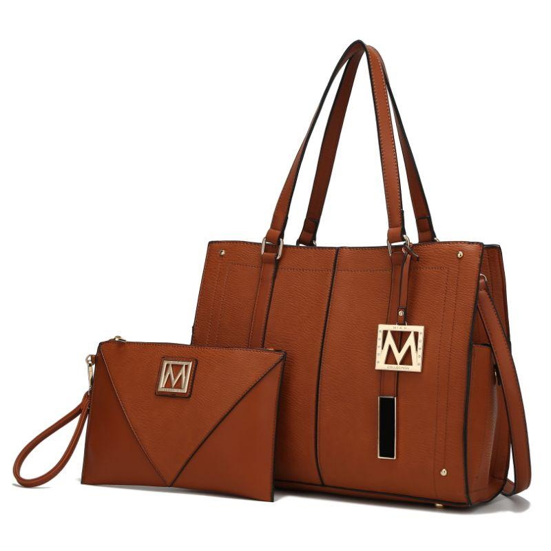 MKF Collection Tammie Solid Satchel Bag avec pochette à poignets-Cognac Brown-Daily Steals