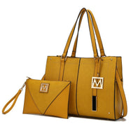 MKF Collection Tammie Solid Satchel Bag avec pochette à bracelet-jaune-vole quotidienne