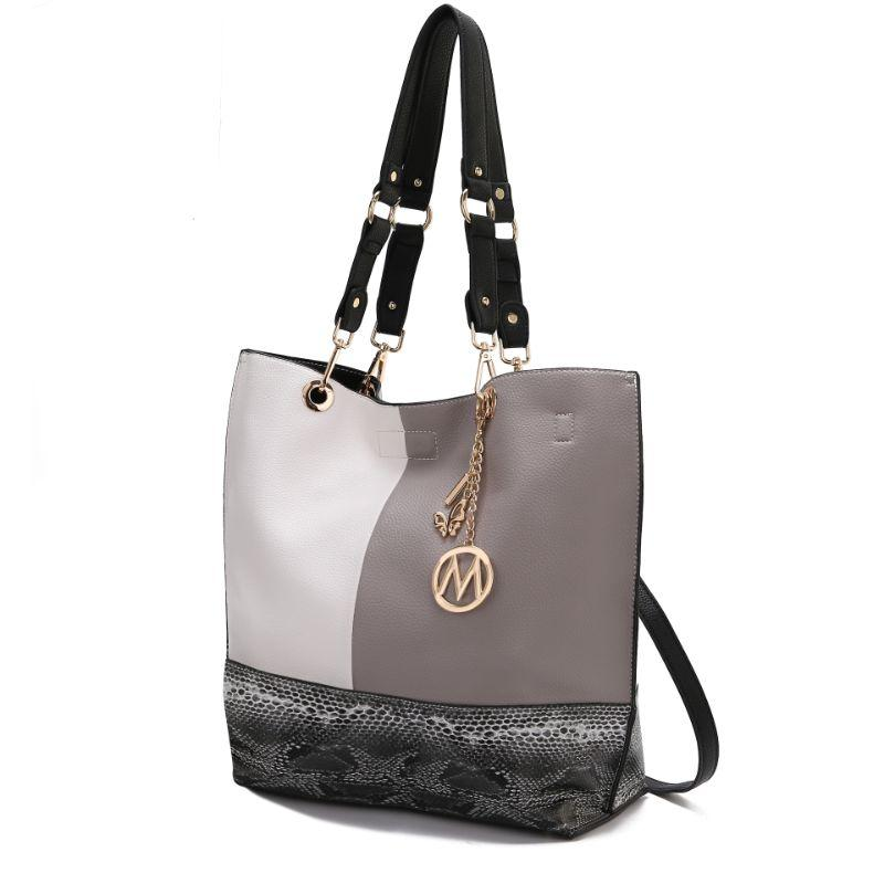 MKF Collection Women's Laya Reversible Tote-Black-Light Grey-Daily Steals