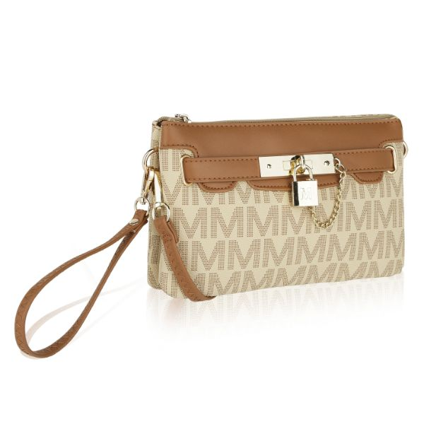 MKF Signature Logo Print Wristlet Bag by Mia K Farrow-Printed Beige-Daily Steals