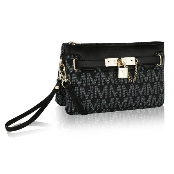 MKF Signature Logo Print Wristlet Bag par Mia K Farrow-Printed Black-Daily Steals