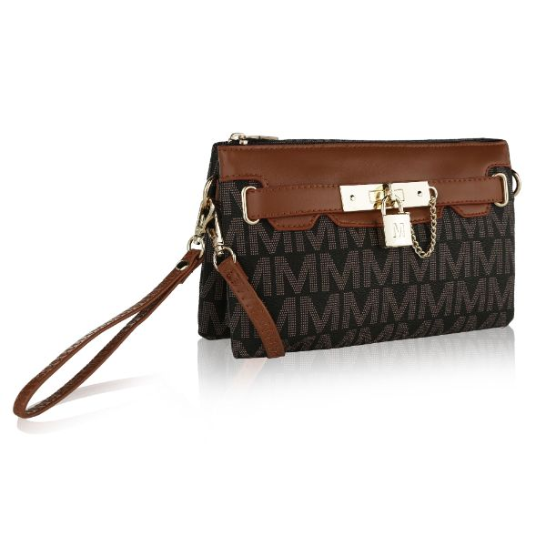 MKF Signature Logo Print Wristlet Bag by Mia K Farrow-Printed Brown-Daily Steals