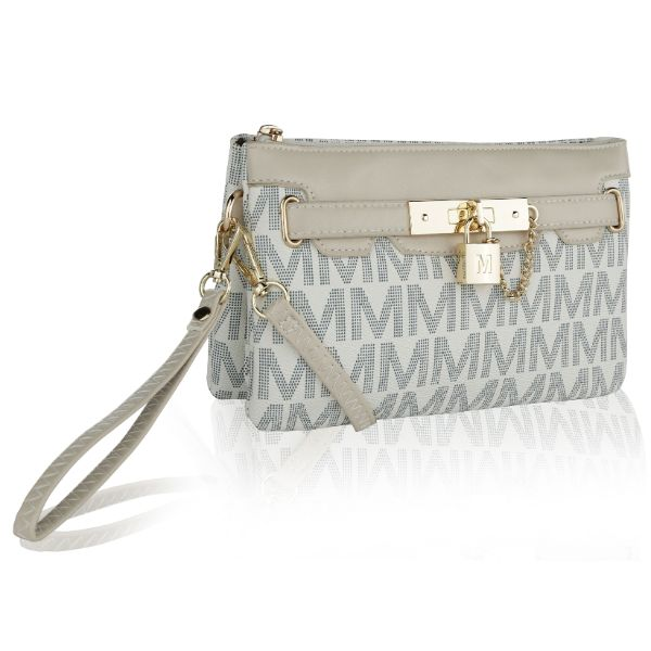 MKF Signature Logo Print Wristlet Bag by Mia K Farrow-Printed White-Daily Steals