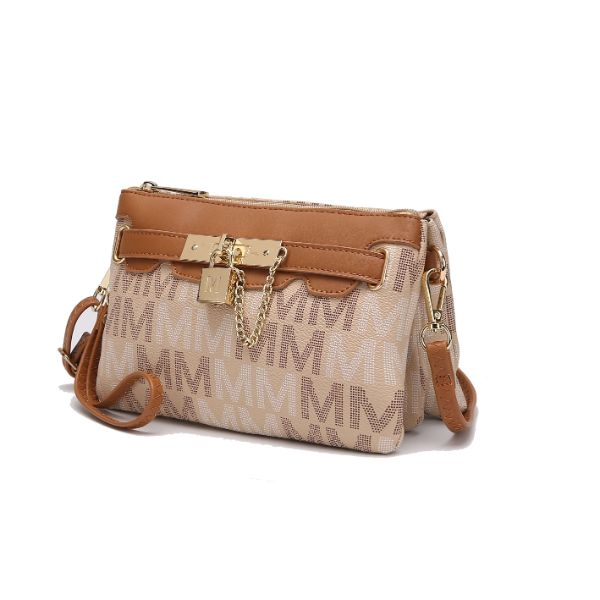 MKF Signature Logo Print Wristlet Bag par Mia K Farrow-Multi Beige-Daily Steals
