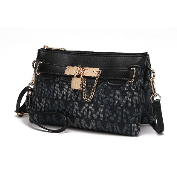 MKF Signature Logo Print Wristlet Bag par Mia K Farrow-Multi Black-Daily Steals