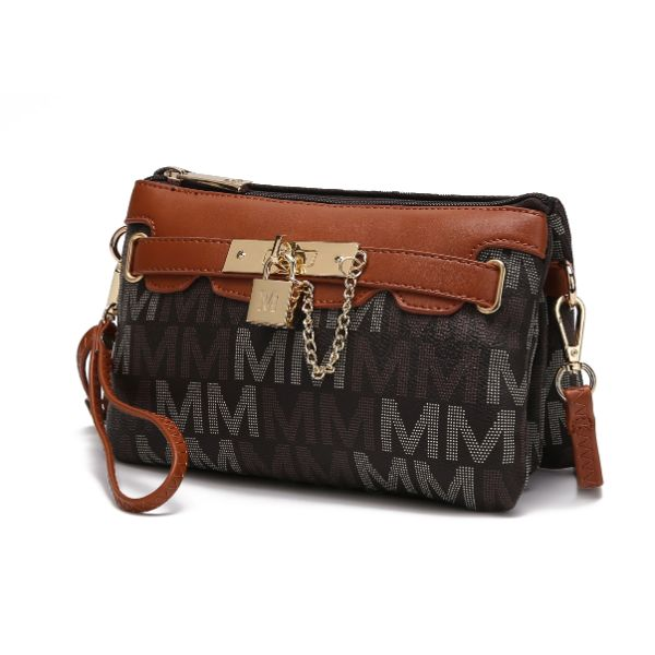 MKF Signature Logo Print Wristlet Bag par Mia K Farrow-Multi Brown-Daily Steals