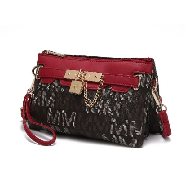 MKF Signature Logo Print Wristlet Bag par Mia K Farrow-Multi Red-Daily Steals