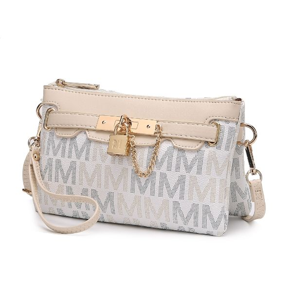 MKF Signature Logo Print Wristlet Bag par Mia K Farrow-Multi White-Daily Steals