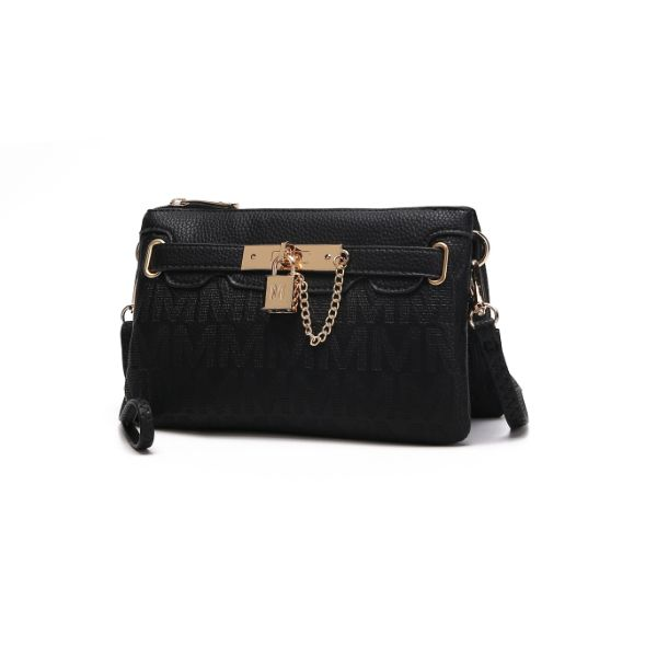 MKF Signature Logo Print Wristlet Bag par Mia K Farrow-Black Embossed-Daily Steals