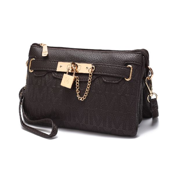 MKF Signature Logo Print Wristlet Bag par Mia K Farrow-Chocolate Embossed-Daily Steals
