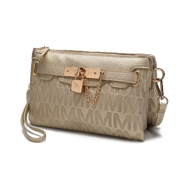 MKF Signature Logo Print Wristlet Bag par Mia K Farrow-Gold Embossed-Daily Steals