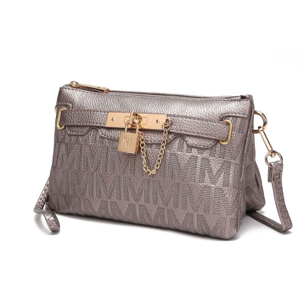 MKF Signature Logo Print Wristlet Bag par Mia K Farrow-Pewter Embossed-Daily Steals