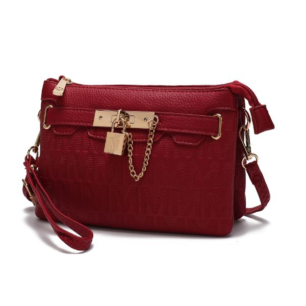 MKF Signature Logo Print Wristlet Bag par Mia K Farrow-Red Embossed-Daily Steals