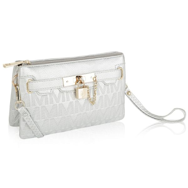 MKF Signature Logo Print Wristlet Bag par Mia K Farrow-Silver Embossed-Daily Steals