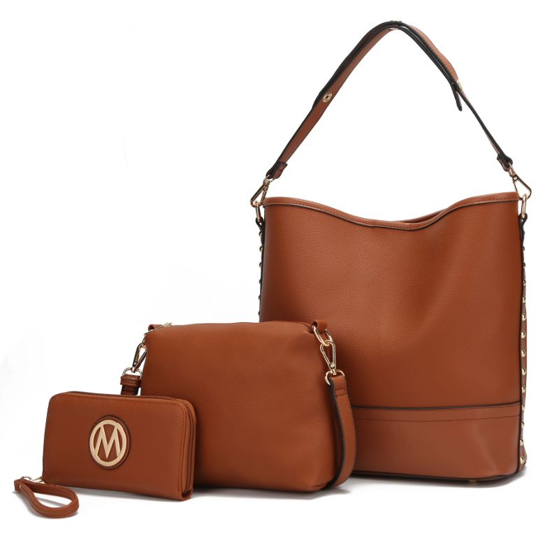 Ultimate Hobo Handbag, Crossbody Bag, and Wristlet by MKF-Cognac Brown-Daily Steals