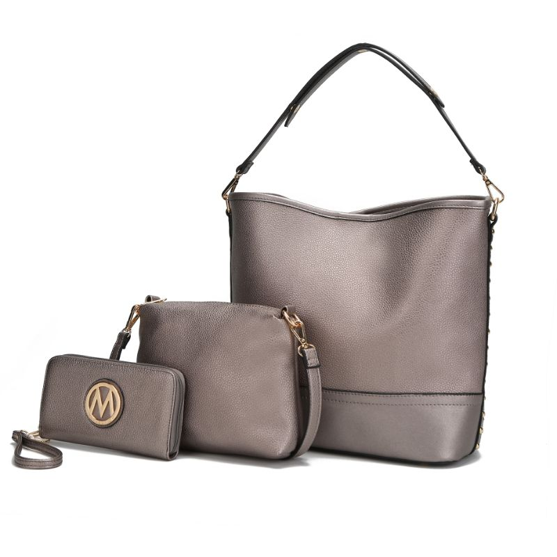Ultimate Hobo Handbag, Crossbody Bag, and Wristlet by MKF-Pewter-Daily Steals