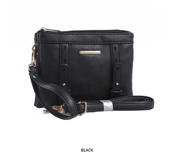 MKF Collection Cara 2-in-1 Double-Compartment Cross-Body & Wristlet with Removable Straps - Assorted Colors-Black-Daily Steals