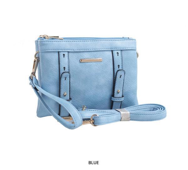 MKF Collection Cara 2-in-1 Double-Compartment Cross-Body & Wristlet with Removable Straps - Assorted Colors-Blue-Daily Steals