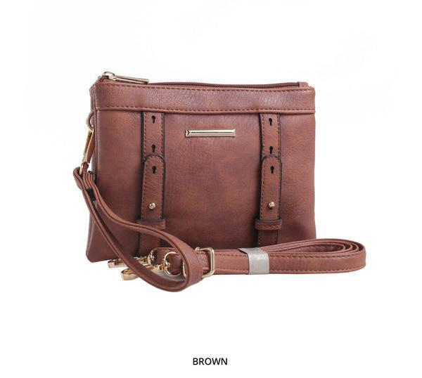 MKF Collection Cara 2-in-1 Double-Compartment Cross-Body & Wristlet with Removable Straps - Assorted Colors-Brown-Daily Steals