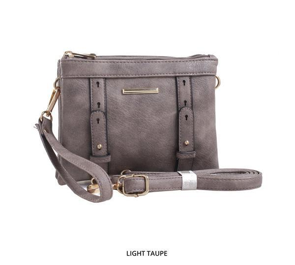 MKF Collection Cara 2-in-1 Double-Compartment Cross-Body & Wristlet with Removable Straps - Assorted Colors-Light Taupe-Daily Steals