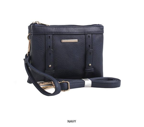 MKF Collection Cara 2-in-1 Double-Compartment Cross-Body & Wristlet with Removable Straps - Assorted Colors-Navy-Daily Steals