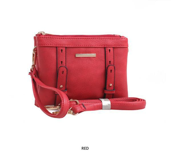 MKF Collection Cara 2-in-1 Double-Compartment Cross-Body & Wristlet with Removable Straps - Assorted Colors-Red-Daily Steals