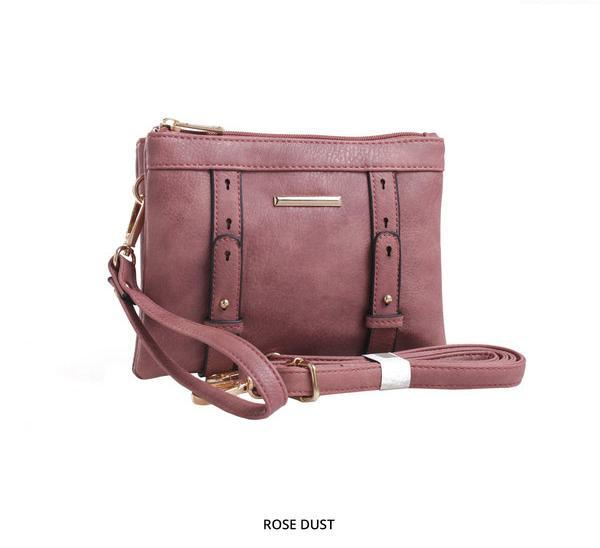 MKF Collection Cara 2-in-1 Double-Compartment Cross-Body & Wristlet with Removable Straps - Assorted Colors-Rose Dust-Daily Steals