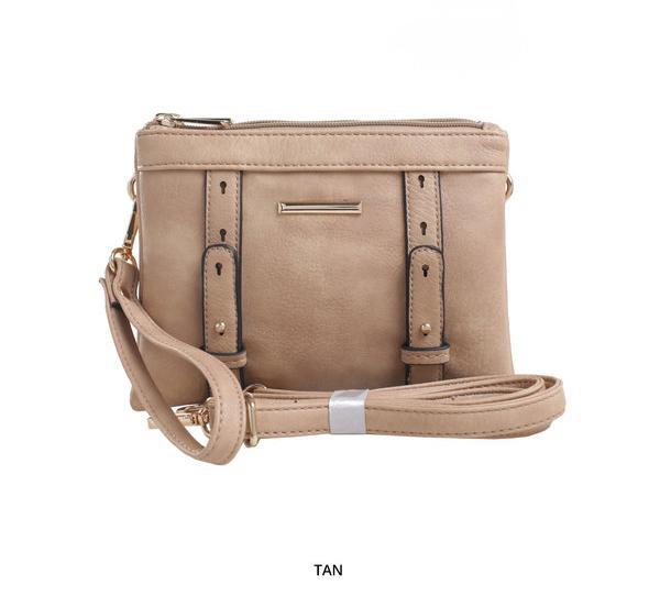 MKF Collection Cara 2-in-1 Double-Compartment Cross-Body & Wristlet with Removable Straps - Assorted Colors-Tan-Daily Steals