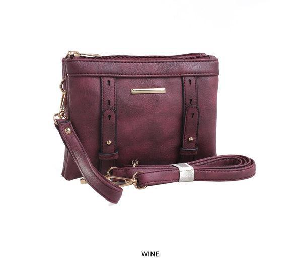 MKF Collection Cara 2-in-1 Double-Compartment Cross-Body & Wristlet with Removable Straps - Assorted Colors-Wine-Daily Steals