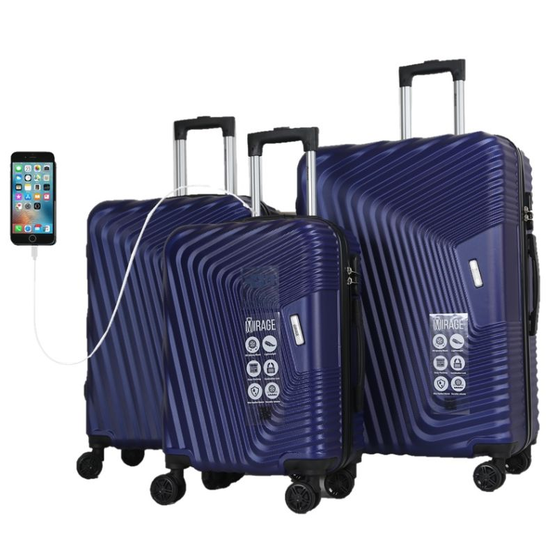 Mirage Empire 3 Piece Luggage Suitcase Set with USB Port-Azul-20-24-28-Daily Steals