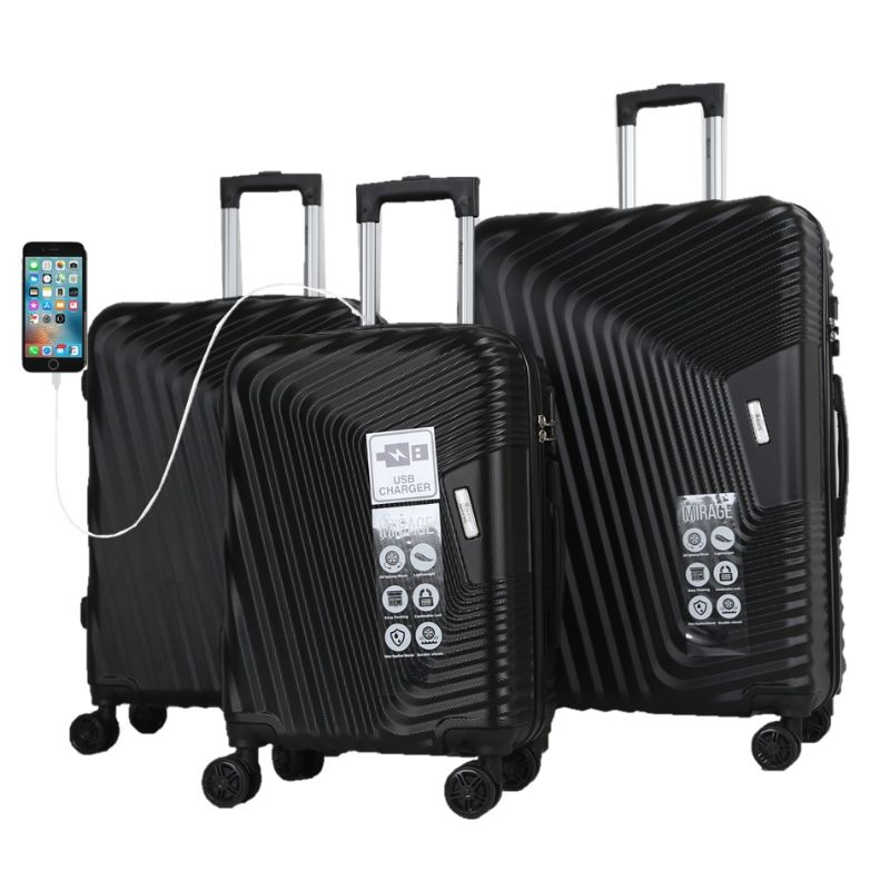 Mirage Empire 3 Piece Luggage Suitcase Set with USB Port-Onyx Black-20-24-28-Daily Steals
