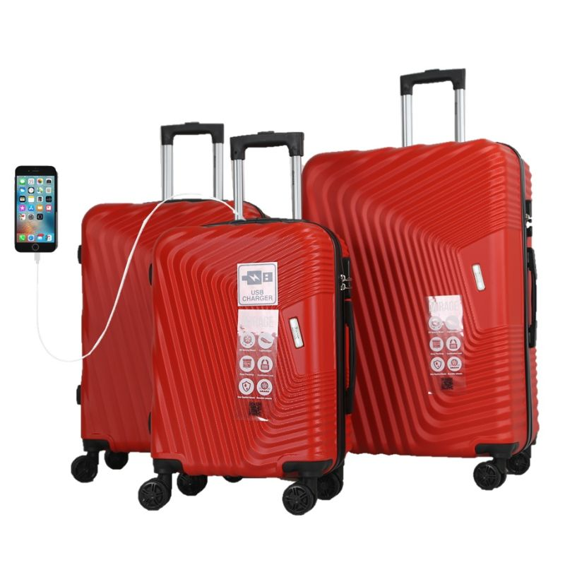 Mirage Empire 3 Piece Luggage Suitcase Set with USB Port-Crimson Red-20-24-28-Daily Steals