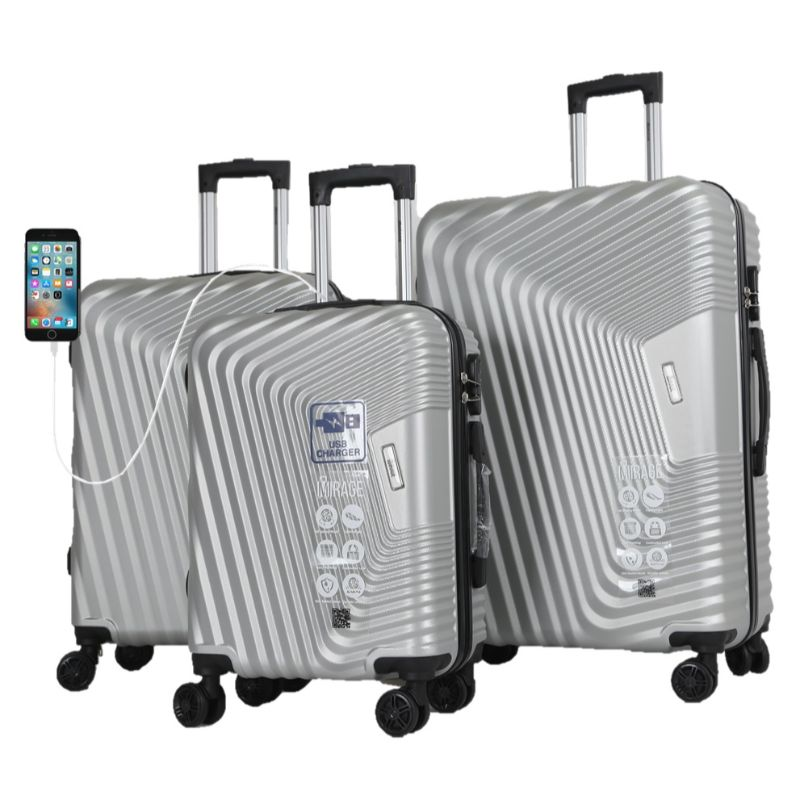 Mirage Empire 3 Piece Luggage Suitcase Set with USB Port-Silver-20-24-28-Daily Steals