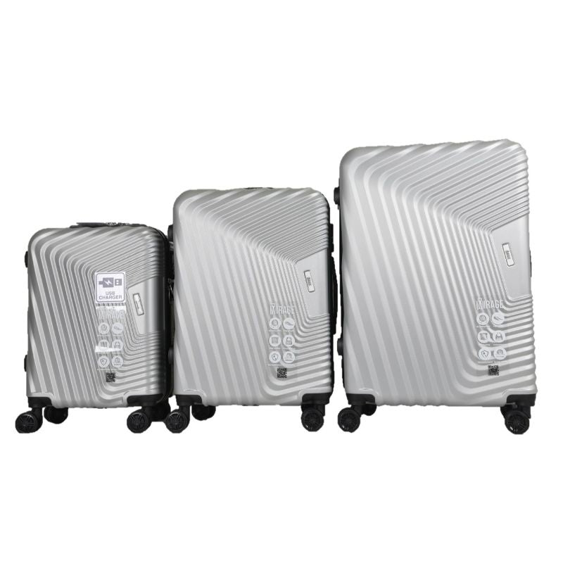 Mirage Empire 3 Piece Luggage Suitcase Set with USB Port-Daily Steals