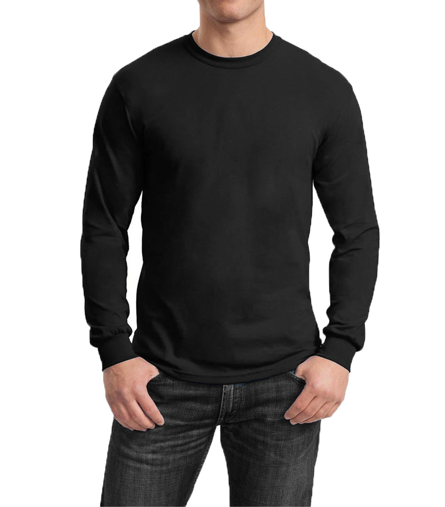 Men's Regular Fit Long Sleeve Crew Neck Tee-Black-Medium-Daily Steals