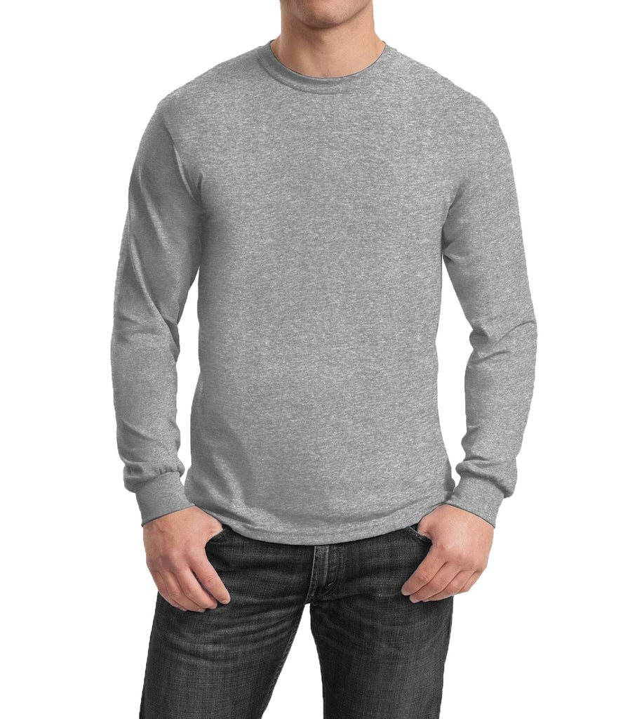 Men's Regular Fit Long Sleeve Crew Neck Tee-Heather Grey-Small-Daily Steals