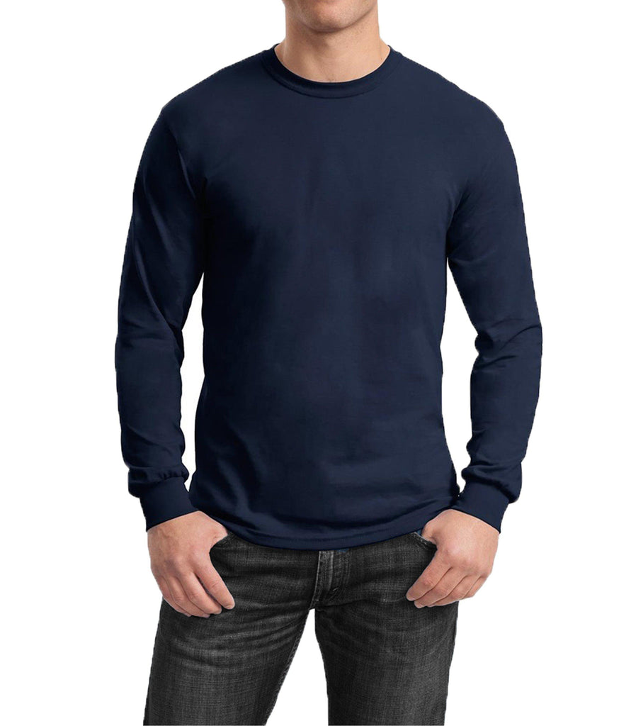 Men's Regular Fit Long Sleeve Crew Neck Tee-Navy-Small-Daily Steals