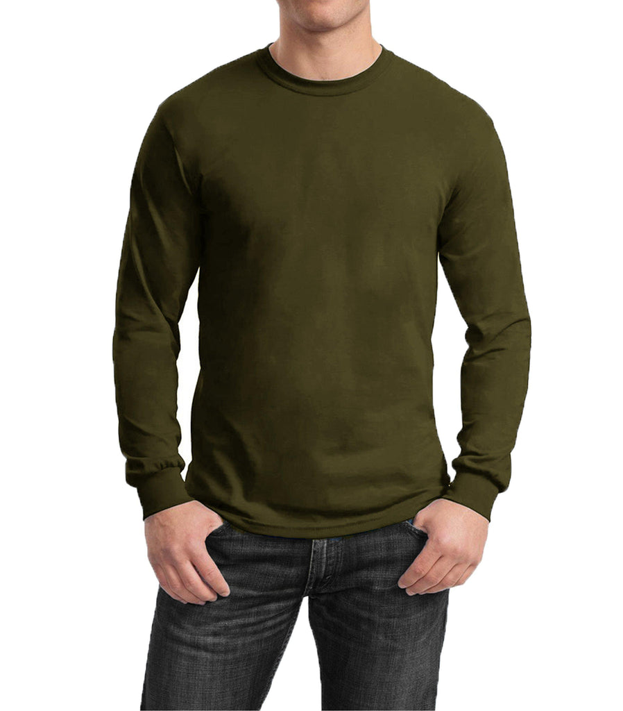 Men's Regular Fit Long Sleeve Crew Neck Tee-Olive-Small-Daily Steals