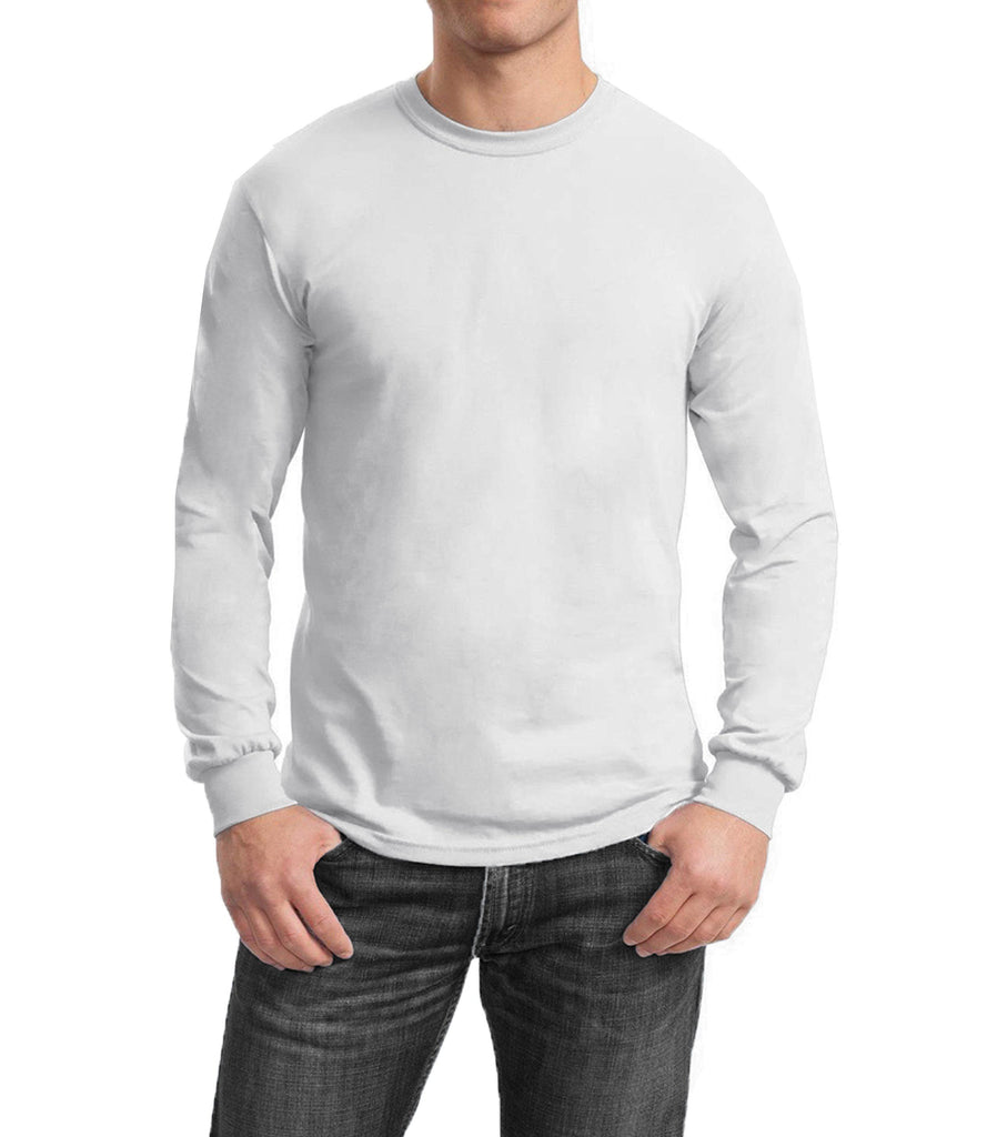 Men's Regular Fit Long Sleeve Crew Neck Tee-White-Small-Daily Steals