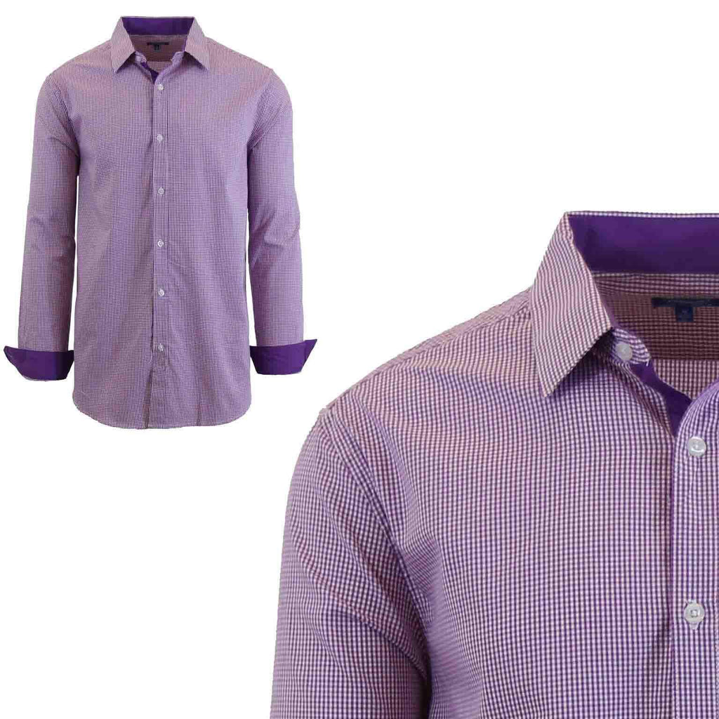 Men's Long Sleeve Slim Fit Gingham Dress Shirts-2X-Large-Checkered Lavender/Pink-Daily Steals