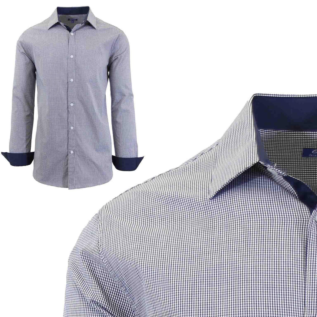Men's Long Sleeve Slim Fit Gingham Dress Shirts-2X-Large-Micro-Checkered Black/Navy-Daily Steals