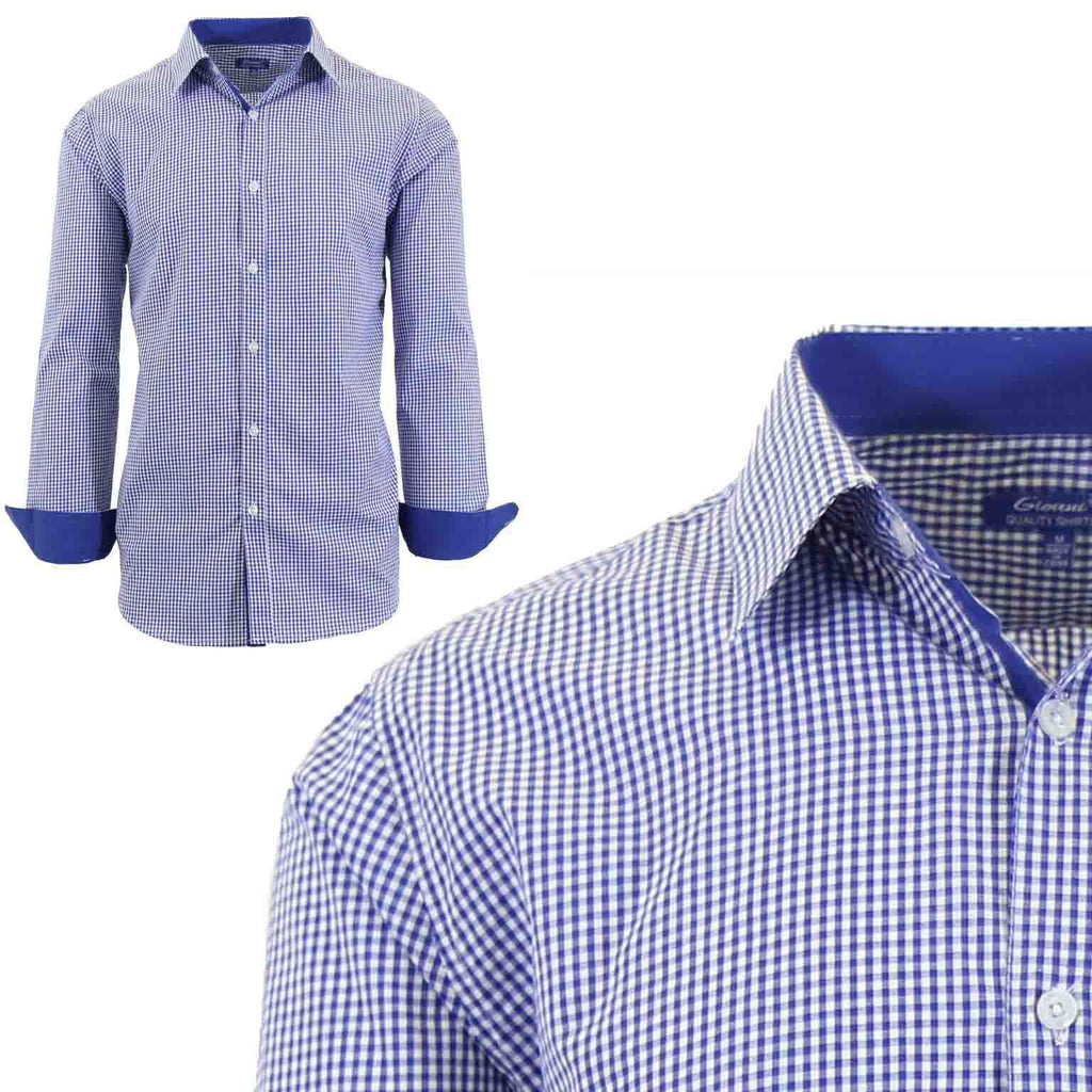 Men's Long Sleeve Slim Fit Gingham Dress Shirts-2X-Large-Checkered Blue-Daily Steals