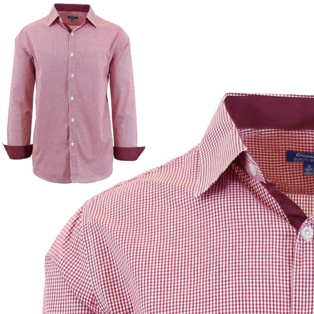 Men's Long Sleeve Slim Fit Gingham Dress Shirts-2X-Large-Checkered Red-Daily Steals