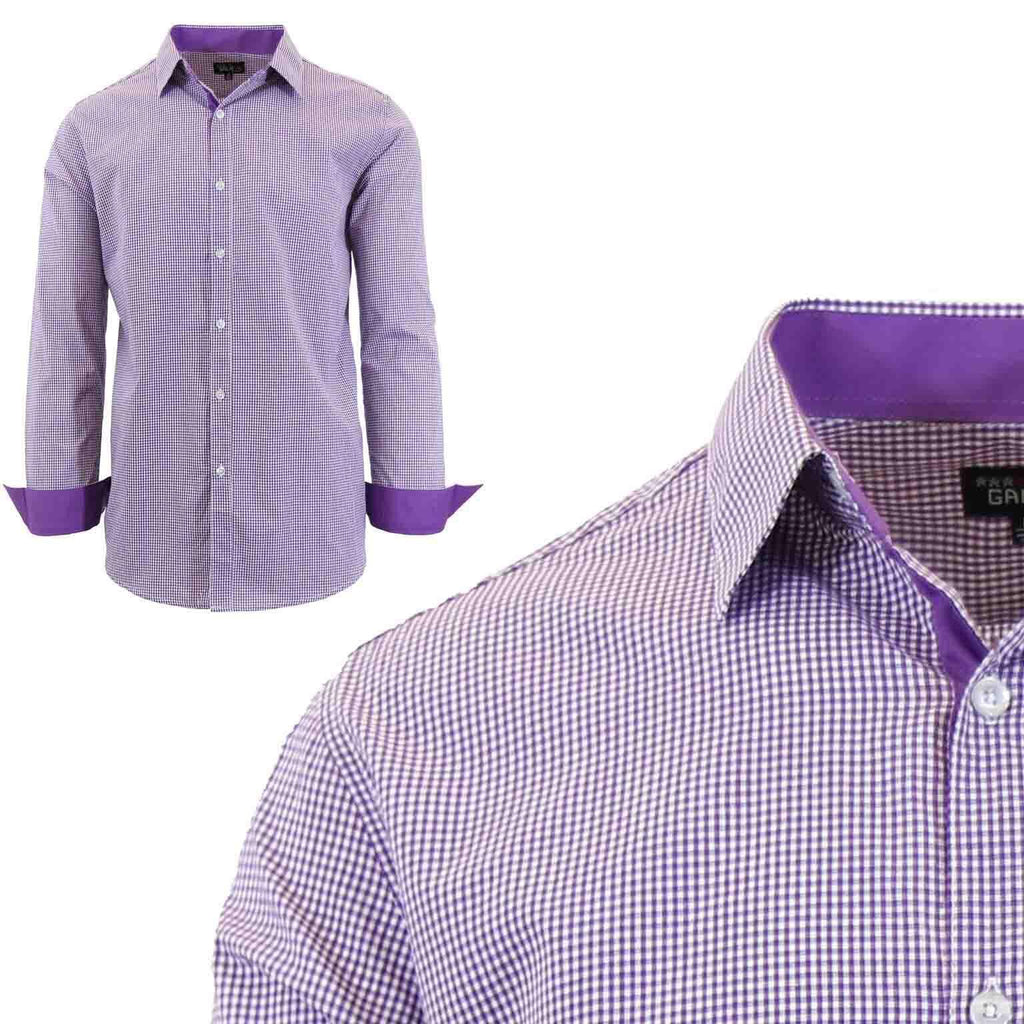 Men's Long Sleeve Slim Fit Gingham Dress Shirts-2X-Large-Checkered Purple-Daily Steals