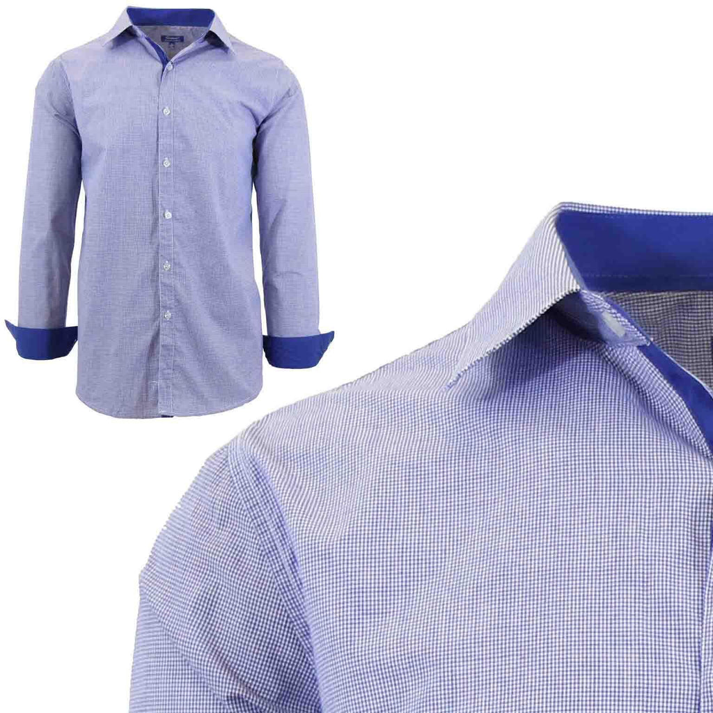 Men's Long Sleeve Slim Fit Gingham Dress Shirts-2X-Large-Micro-Checkered Royal-Daily Steals