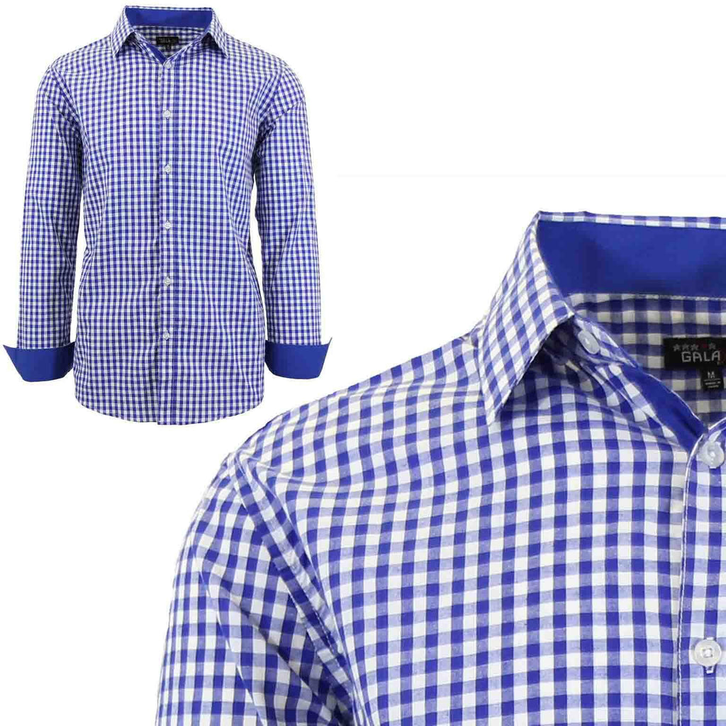 Men's Long Sleeve Slim Fit Gingham Dress Shirts-2X-Large-Gingham Royal-Daily Steals